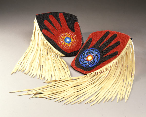 Marcus Amerman (Choctaw), Fringed Cuffs, 1980, beads, fabric, wool, buckskin, 20.5 x 18.5 in. CHO-33; Museum Purchase, 1992; Courtesy of the IAIA Museum of Contemporary Native Arts, Santa Fe, NM. Photograph by Jason S. Ordaz.